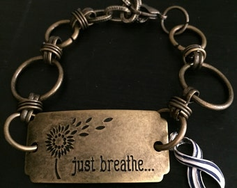 Beautiful ALS Awareness Bracelet - Just Breathe - Striped Ribbon Charm - Lou Gehrig's disease / Awareness Jewelry