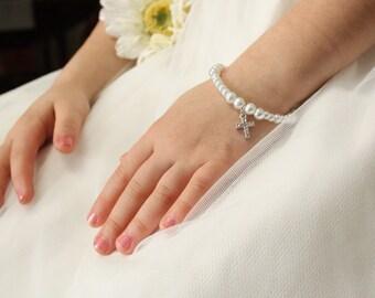 Cross Bracelet - Flower Girl Gift - First Communion Jewelry - Christian Wedding - Catholic Wedding - Charm Bracelet - Layla