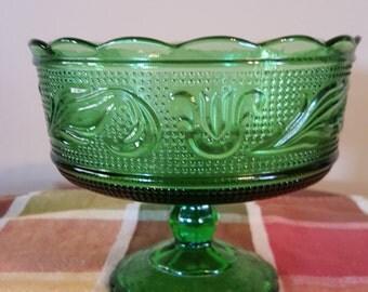 E O Brody Green Glass Pedestal Compote