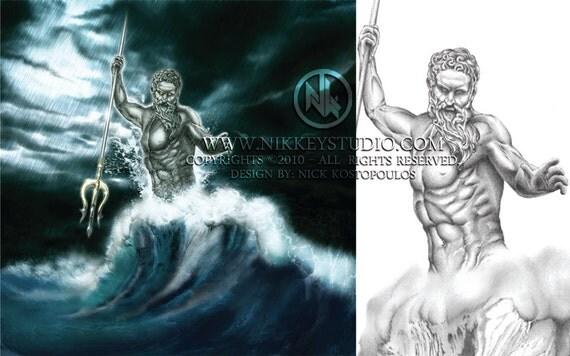 Poseidon colored version (mixed media) Digital print