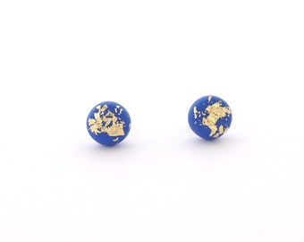 Blue Gold Flakes Earring Stud