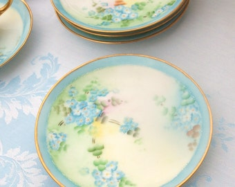 Antique Dessert Plates Set of 4 Hand Painted Light Blue with Gold | Thomas Bavaria | Blue Floral Pretty 6 inch Plates | Afternoon Tea Party