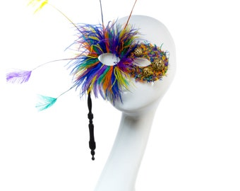 Carnival - Masquerade Colourful Firework Feather Stick Mask