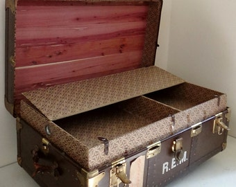 Antique Vintage Steamer Trunk with Original Tray Cedar Lined on Casters Storage Box Decoupage