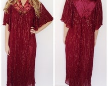 Vintage 70s maxi dress maroon metallic gold thread dress gauze dress India boho maxi dress caftan dress