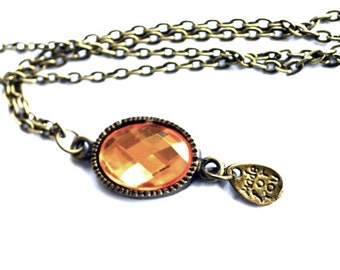 Bronze antique crystal necklace vintage look casual necklace pendant affordable gift