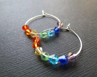 Yoga Earrings - Chakra Hoop Earrings - 7 Color Chakra Crystal Earrings - Chakra Jewelry