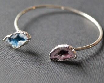 Geode Bracelet - Blue Agate Bracelet - Natural Blue Druzy Jewelry - Bangle Bracelet - Half Geode Bracelet