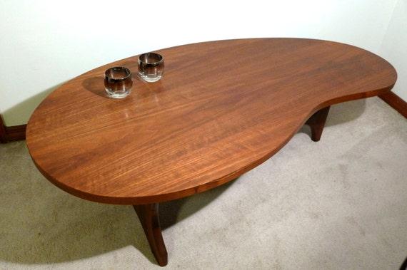 Kidney Shaped Walnut Coffee Table Mid Century By Zeejunkhunter