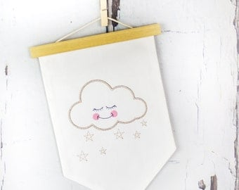 Sleepy Cloud Fabric Wall Hanging