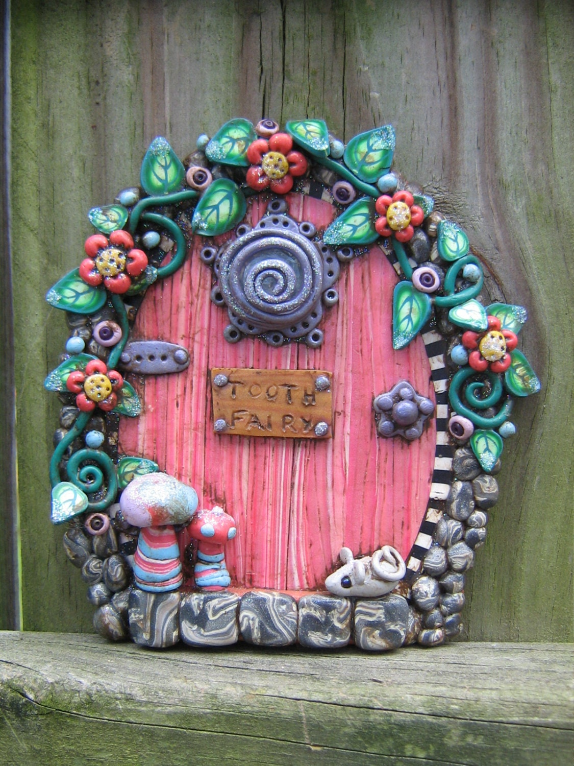 Tooth fairy door made to order pixie portal in polymer clay by for Fairy pixie doors