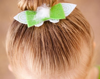 Tinkerbell Embroidered Vinyl Hair Clip, Hair Bow, Hair Accessory, Fairy Bow, Peter Pan, Embroidered Bow, Glitter Vinyl, Fairies, Tinkerbell