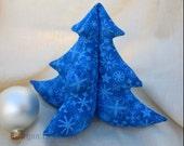 Stuffed Christmas Tree - Bright Blue on Blue Snowflakes - Medium 8 inches
