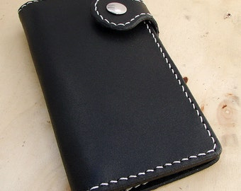 Cow leather wallet style biker black