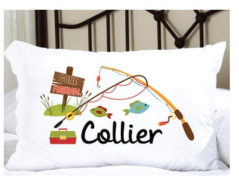 Personalized Pillow Case for Boys Fishing Pillows