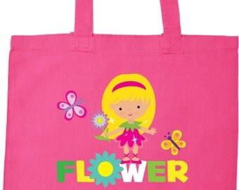 Flower Girl Tote Bag in Dk Pink with Flower Girl