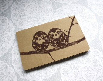 Brown Owl note book | Cute Owl duo | Moleskine | Cahier Journal | Lined pages | Lino print | Handmade | Pocket size |