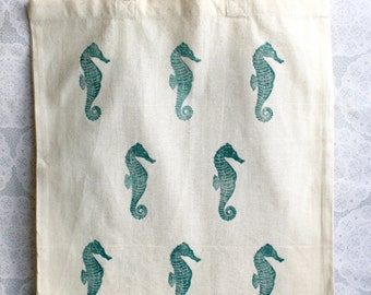 Turquoise seahorse Tote Bag | 100% cotton | Eco friendly | Reusable shopper bag | Ethically produced | canvas bag |