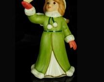 Goebel Snow Angel Figurine Vintage statue with bird green coat girl stocking stuffer novelty dove