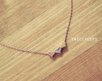 Gold Silver RoseGold Tiny Hearts Necklace