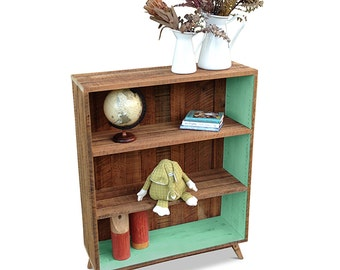 Recycled Wood Rustic Modern Mid Century Solid Timber Bookcase with Shelves in Retro Teal Jade Green / Pastel / Mint / Pistachio #MakeForGood