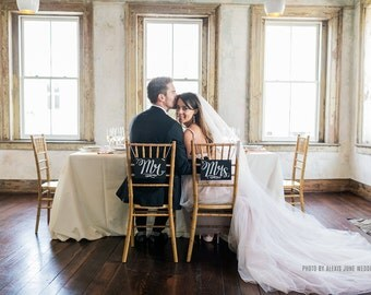 Chalkboard Wedding Chair Signs - Mr. & Mrs. Signs- Wedding Photo Props - Wedding Chalkboards