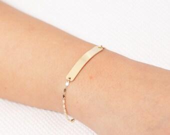 Perfect Gold Bar Bracelet, Personalized Bar Bracelet, Nameplate Bracelet, Bridesmaid Gift, Gold Filled Bar Bracelet, Everyday Jewelry.