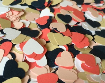 Coral/Navy Wedding Confetti Hearts 500 Pieces - Paper Heart Confetti - Wedding Decoration - Engagement Party Decor - Coral and Navy Wedding