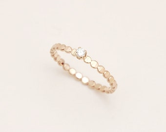 Dainty diamond engagement ring with hammered gold bead band, simple engagement ring, solitaire ring, wedding ring