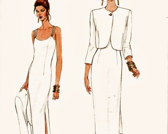 Retro Very Easy Very Vogue Pattern 8944 Fitted Strappy Sheath & Bolero Jacket Szs 8-12 Uncut FF Mother of Bride Dress Sewing Pattern Supply