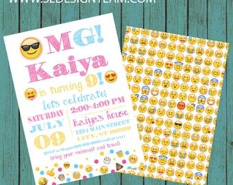 ON SALE! emoji birthday party emoji invite emoticon emoji invitation