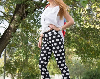 Polka Dot Leggings, Printed Leggings, Black White Leggings, Womens Leggings, Workout Stretch Leggings, Gym Leggings, Handmade Yoga Leggings