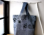 Linen tote bag, Hand print, Cat,  Bird, Octpus, navy mixed chambray
