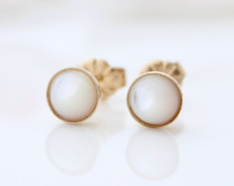 Mother of pearl studs - Gold post earrings set with mother of pearl gemstones, Gift for her