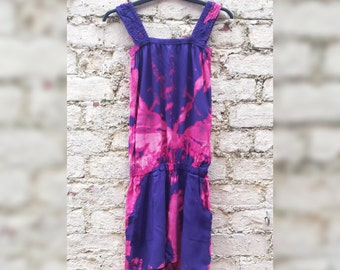 Womens Playsuit Tie Dye Jumpsuit with Pockets to fit UK size 10/12 or US size 6/8 70s Festival clothes hippie clothing