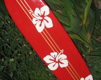 SURFBOARD WALL ART hawaiian surf beach hibiscus decor longboard tiki sun