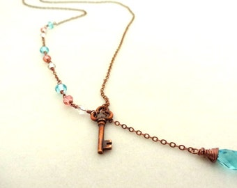 Copper Key wire wrapped pendant lariat Necklace with Blue Crystal Bead Pendant Jewelry