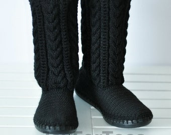 Crochet Boots Crocheted Knitted Shoes Outdoor Boots Handmade shoes Fall fashion accessories Black Ugg MADE to ORDER