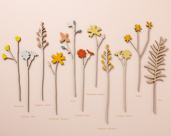 Wooden Flowers - Wooden Meadow Flowers - Plywood Flowers - Individual Stems