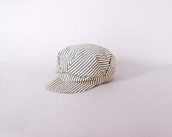 Vintage 60s RAILROAD HAT / 1960s Express Hickory Stripe Denim Men's Engineer Cap