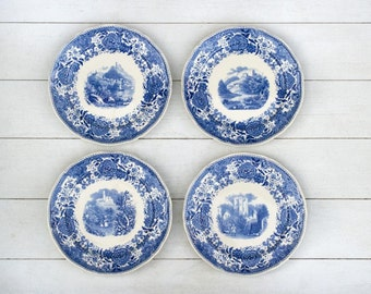 Set of 4 Cake Plates- Blue and Cream Countryside Floral- Different Scenes- Burgenland by Villeroy and Boch