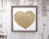 Gold glittered heart rustic wood sign
