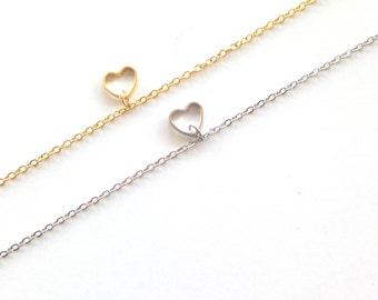 Tiny heart bracelet, cute dainty bracelet, everyday jewelry, gift for her under 15 usd