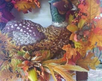 Fall Bird wreath/Pheasant wreath/Autumn wreath/Fall door wreath/Thanksgiving wreath/Bird wreath/Country fall wreath/Bountiful wreath/Wreath