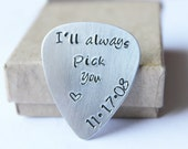 I'll always Pick You Personalized guitar pick - Custom silver - Boyfriend Husband - Musician - Anniversary Wedding Valentines Day Gift Idea