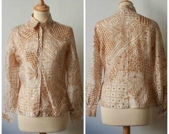 Vintage Silk Blouse, Women's Size S/M