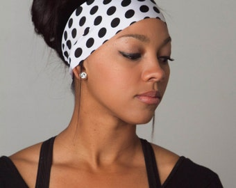 No Slip Headband - Polka Dot Headband - Running Yoga Headband Rockabilly Pinup Headband - Moisture Wicking Fitness Running Headband - MONROE