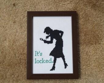 """Nancy Drew """"It's locked"""" framed cross stitch"""