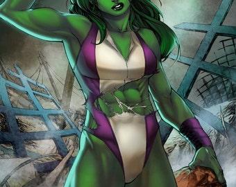 She-Hulk Print by Hanzozuken