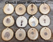 """DIY 25 Large 3""""+ Wood Slice Ornaments use for Christmas, rustic weddings, country decor, tree slice ornament, dark"""